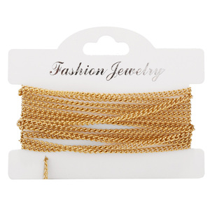 2 Meters Fashion Gift Chain Necklace Curb Cuban Link Gold Tone Stainless Steel Necklace Making Chains