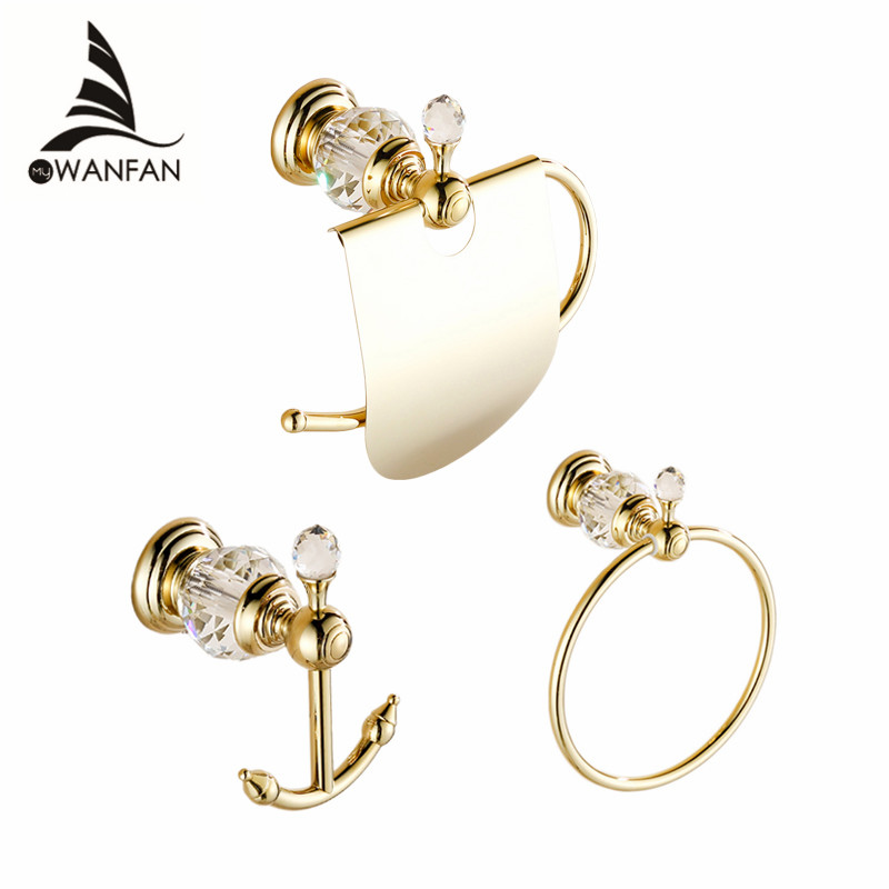 Bath Hardware Sets European Style Hook on the Wall Luxury Crystal Brass Paper Holder Gold Bathroom Hangings Towel Ring HK00 leyden towel bar towel ring robe hook toilet paper holder wall mounted bath hardware sets stainless steel bathroom accessories