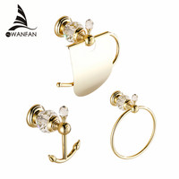 Bath Hardware Sets European Style Hook on the Wall Luxury Crystal Brass Paper Holder Gold Bathroom Hangings Towel Ring HK00