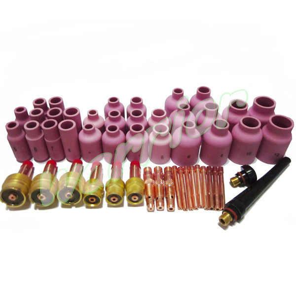 50ชิ้นเต็มTIGอุปกรณ์เชื่อมชุดหัวฉีดแก๊สเลนส์Bodiesจำปาถ้วยปะเก็นกลับCaps Fit WP SR17 18 26 T Orches