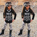 Autumn Winter Newborn Toddler Kids long sleeve set Baby Girls Outfits Clothes letters T-shirt Tops+Floral Pants 2PCS Set