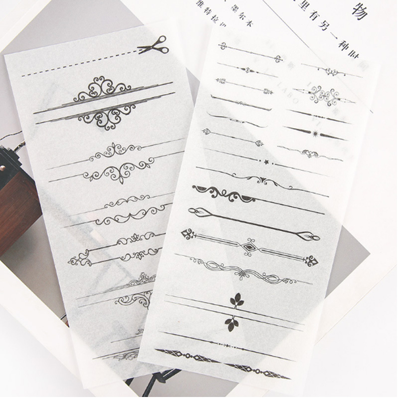 6 pcs pack Black and white division line Stickers Set Decorative Stationery Stickers Scrapbooking DIY Diary Album Stick Label in Stationery Stickers from Office School Supplies