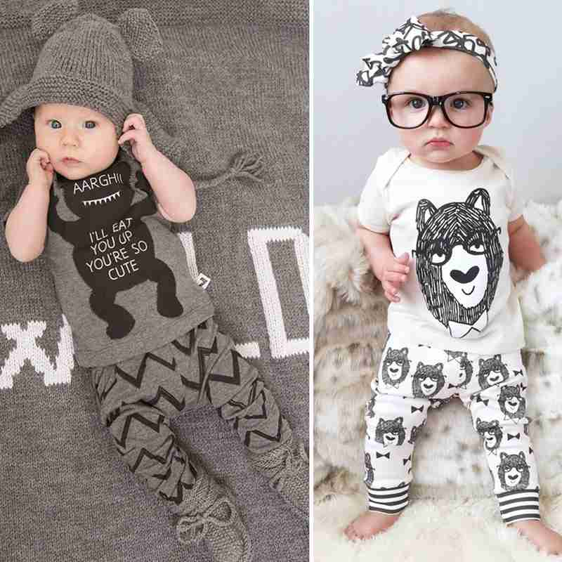Summer Infant Baby Clothing Set Newborn Kids Boy Girl Short Sleeve T-shirt+Pants 2pcs Cotton Little Monsters Outfits Set 0-36M 3pcs set newborn infant baby boy girl clothes 2017 summer short sleeve leopard floral romper bodysuit headband shoes outfits