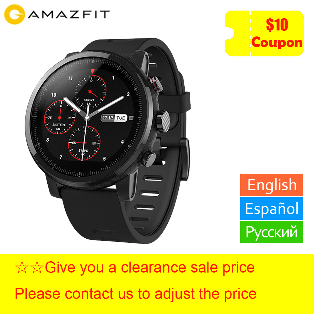 xiaomi Huami Amazfit Stratos Smart Watch 2 5ATM Water Resistant 1.34' 2.5D Screen GPS Firstbeat Swimming Smartwatch
