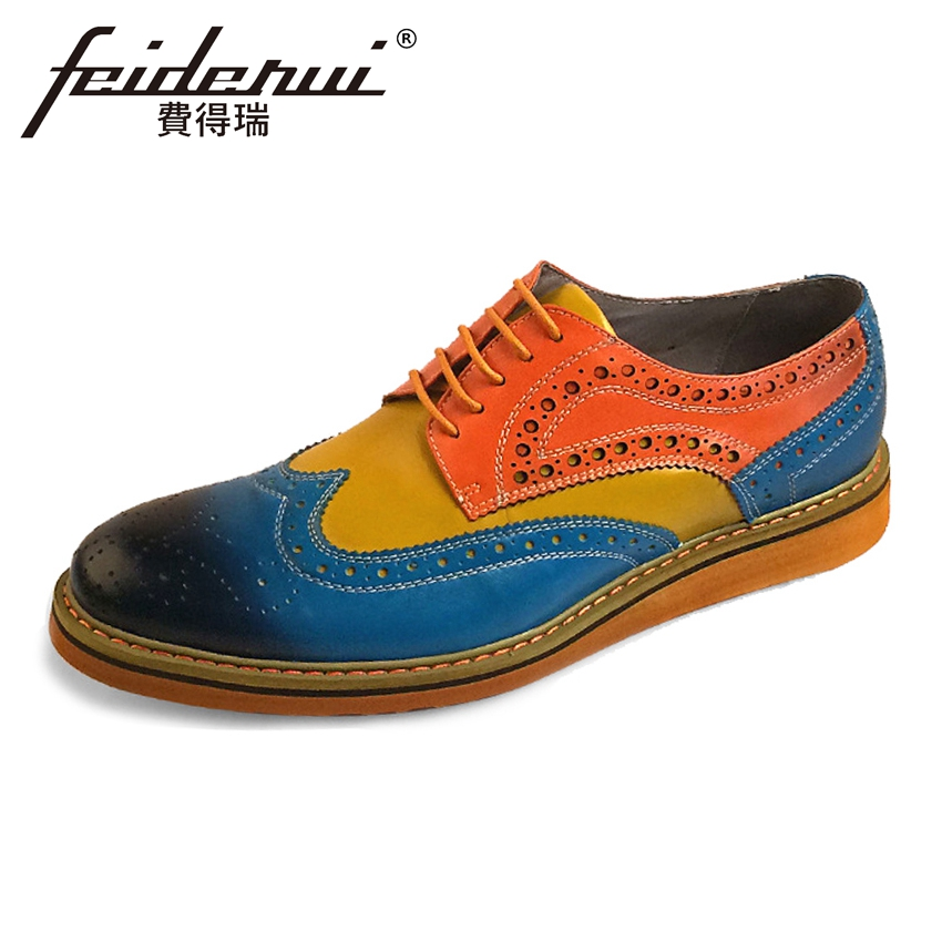 Plus Size Mixed Colors Genuine Leather Men\'s Oxfords Vintage Round Toe Derby Flats Formal Dress Brogue Shoes For Man ASD96