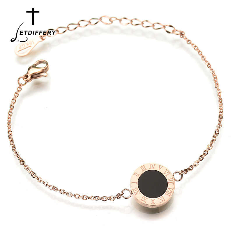 Letdiffery 316L Stainless Steel Black White Shell Roman Bracelet for Women Gold Silver Rose Gold Chain Bracelets Famale Gifts