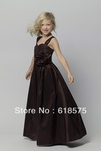 44723 A Line Spaghetti Straps Pleated Handmade Flower Chocolate Long jr bridesmaids dresses