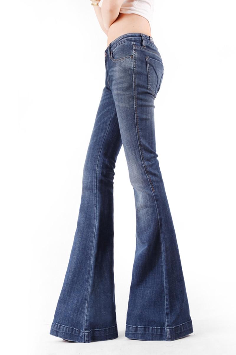 Abbigliamento Sottile 2017 Arrivo Nuovo Jeans Italia Modo Delle Molla A Strappato Di Donne Gamba Dei Larga Graffiato Allungato Della Pantaloni Zampa Dell'annata 8qZr4wW8
