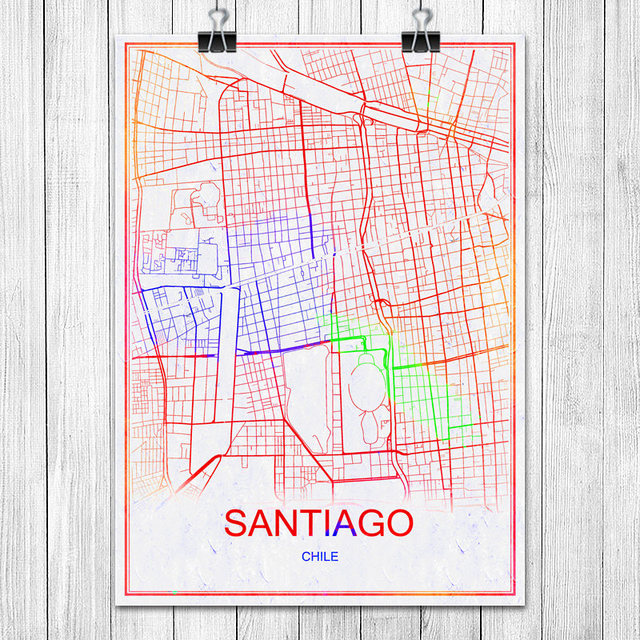 Aliexpresscom  Buy Colorful World City Map SANTIAGO Chile Print