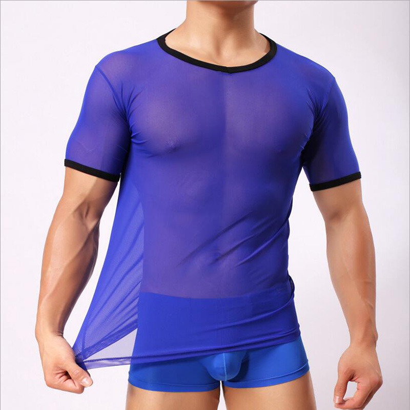 Men's T-shirt Sexy Transparent Mesh Short Sleeve T-shirts For Men Summer Ultra Thin Brand Clothing Breathable Undershirts Tops