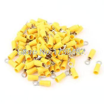 100 piezas 3,5-4 S cable aislado conector anillo engarzado Terminal amarillo 14-12AWG
