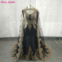 Elegant Black Mermaid Mother Of The Bride Dresses Long Sleeves Gold Appliques Pearls Plus Size Long Prom Party Gowns With Cape