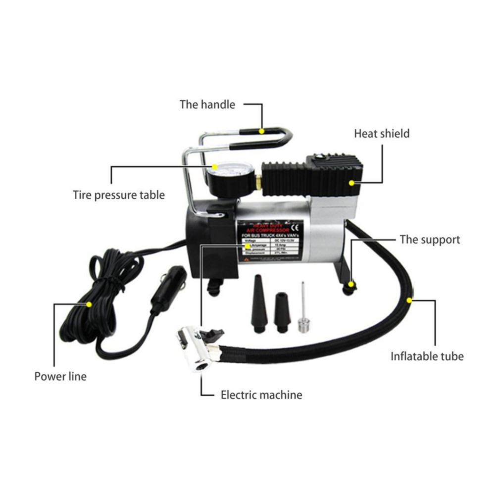 eu Inflador de Aire de Doble Cilindro para inflador de neum/áticos de Alta presi/ón con man/ómetro Amys store