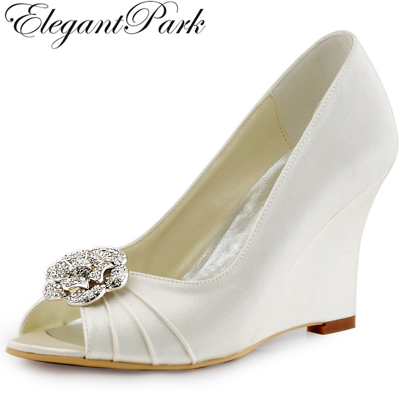 Woman Shoes Ivory High Heel Wedges Peep Toe Rhinestones Pumps Satin Bridesmaid Bride Wedding Bridal Evening Prom Shoes WP1547 2015 unique ivory pearl rhinestone wedding dress shoes peep toe high heeled bridal shoes waterproof woman party prom shoes