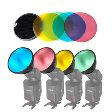 Godox AD-S11 Color Filter Gel Pack with Honeycomb Grid Cover Reflector Kit for Witstro Flash AD180 AD360 Four colors