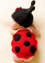 Linda foto del bebé clothing niño infante ladybug costume newborn fotografía atrezzo punto de ganchillo vestidos de animales para la venta(China (Mainland))