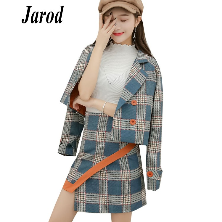2018 Autumn Formal Skirts Suits Women OL Two Piece Set Double-breasted Plaid Short Jacket Coat+High Waist Irregular Skirts