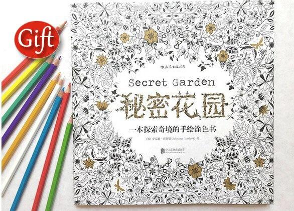 Secret Garden An Inky Treasure Hunt Coloring Book Color Pencil Children Adult Relieve Stress Kill