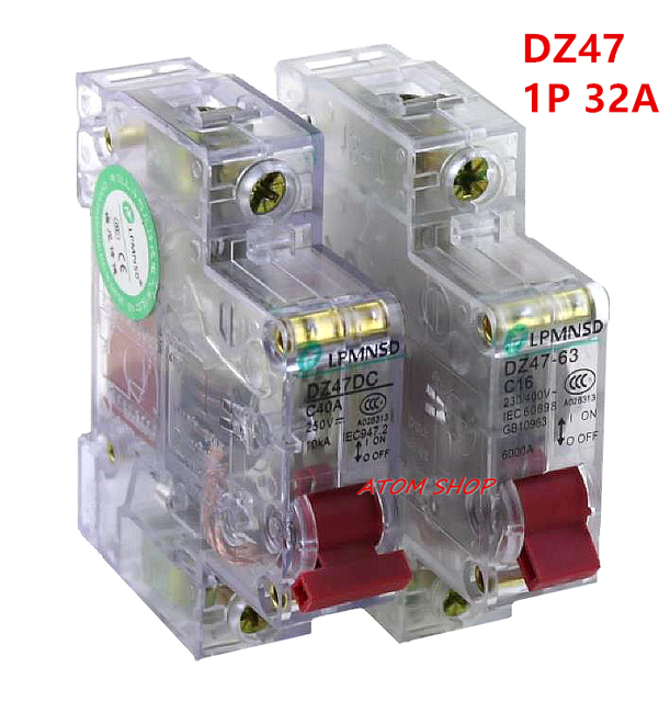 us $3 12 5% off dz47 63 1p 32a transparent 230 400v~mini circuit breaker mcb c45 c type ac dc in circuit breakers from home improvement onDz4763 Mini Circuit Breaker Mcb Open Electrical Technology Co #20
