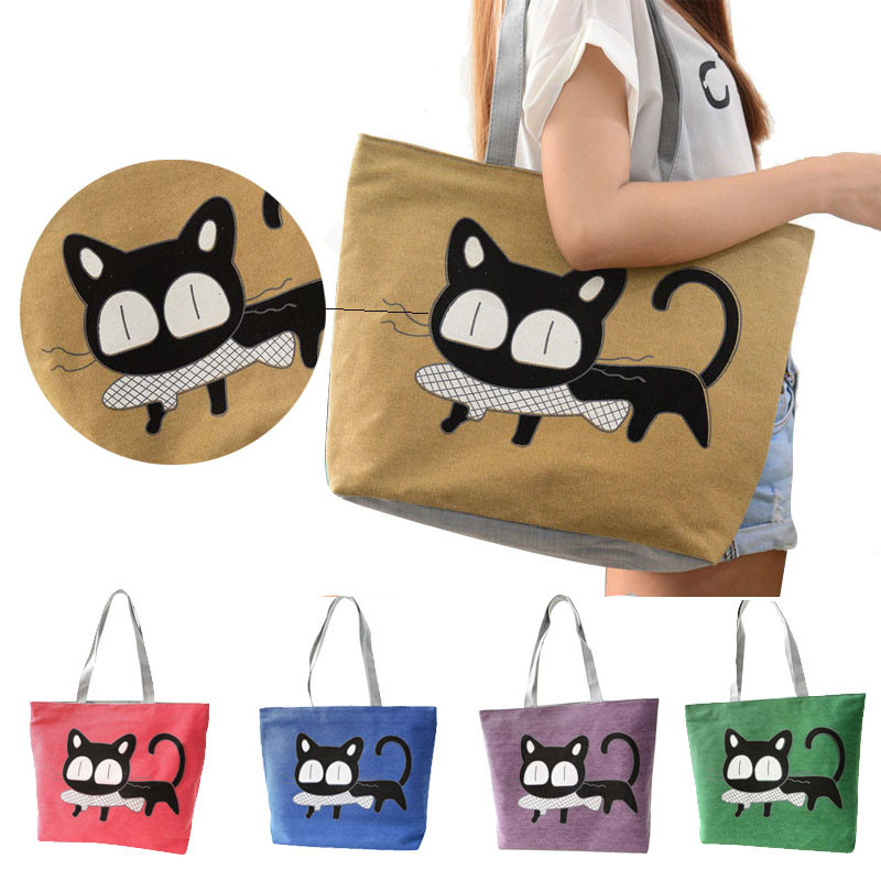 2017 New Fashion Cute Cartoon Cat Bag Canvas Bags For Women Shoulder Bag Casual Women's Handbags Messenger Bags Bolsas Feminina aosbos fashion portable insulated canvas lunch bag thermal food picnic lunch bags for women kids men cooler lunch box bag tote