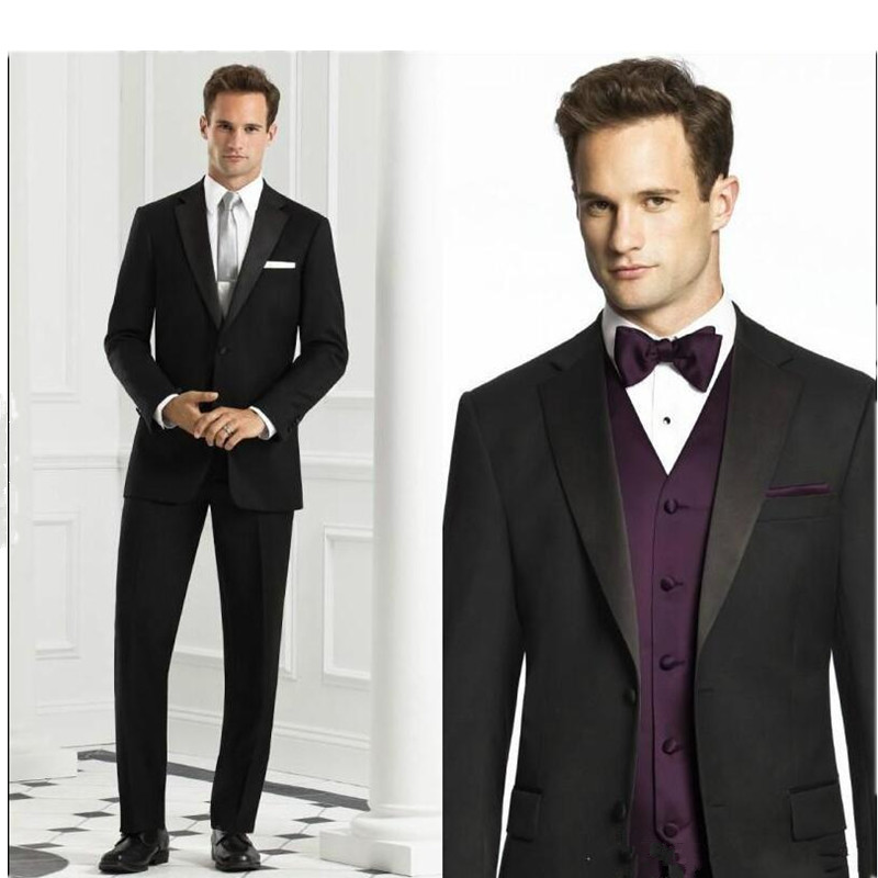 mens designer suits Black Groom Tuxedos Fit Two Button GroomsmanMen Suits Best Man Formal Suit