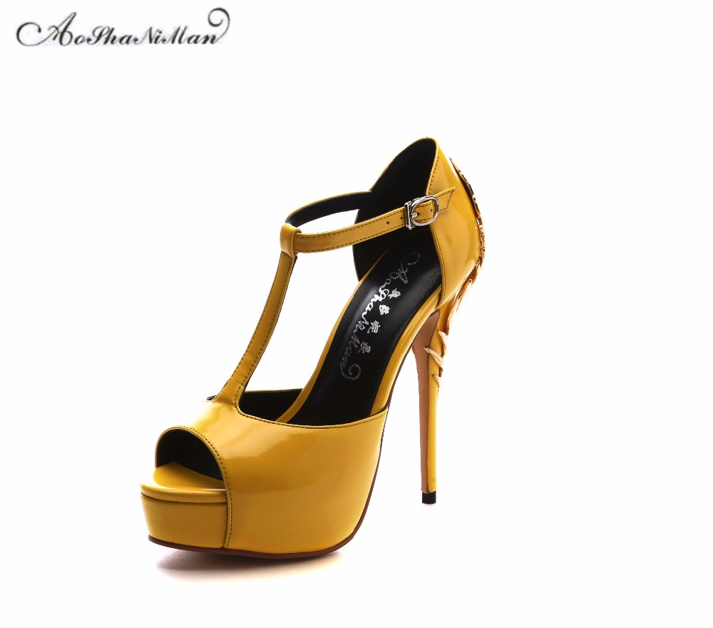 2017 summer Newest 100% real leather sandals women Fashion T-strap platform pop toe pumps sexy party metal heel high heels shoes newest women shoes summer high heel pumps dames schoenen t strap high heels platform sandals wedge ladies party wedding pumps