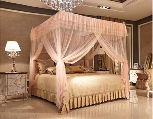 Light Pink Four Corner Post Bed Canopy Mosquito Netting No Frame