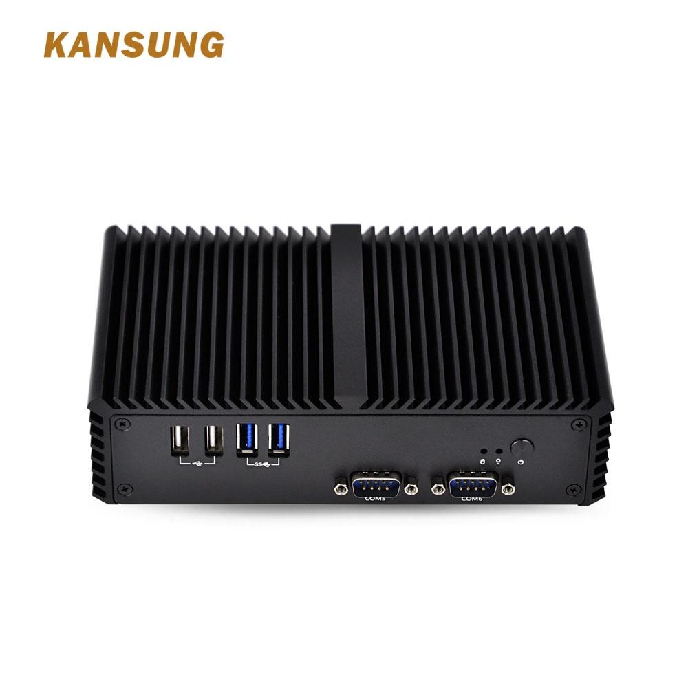 Kansung Mini PC T2 Lan Pentium 3805U Processor Dual Core 1.9 GHz 6 USB 6 COM 2 HD Barebone System Mini PC Gaming Computer