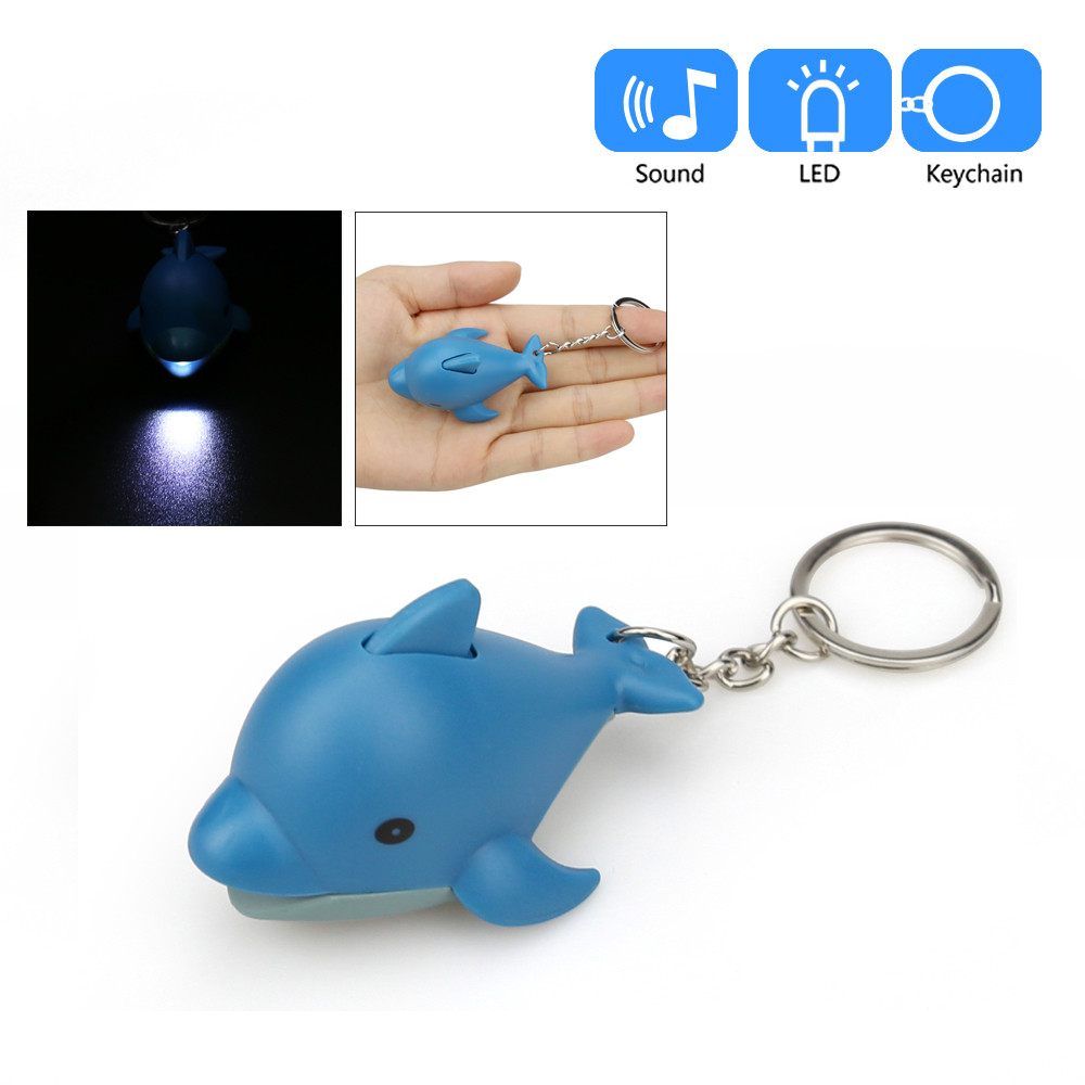 Luminous Xmas Gift Emergency Flash Light With Sound LED Whale Shape Keychain