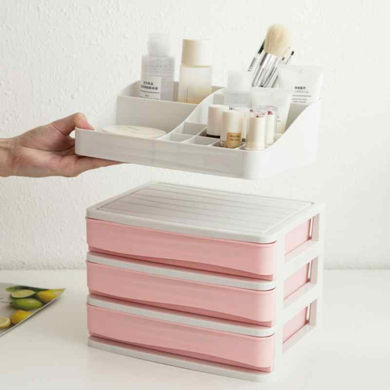 Makeup Organizer Plastic Cosmetic Drawer  Makeup Storage Box Container Desktop Sundry Storage Case(3-Layer+Partition Box )