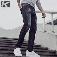 KUEGOU 2017 Autumn Jeans Men Fashion Slim Fit Enzyme Wash Denim Trousers Plus Size Brand Clothing
