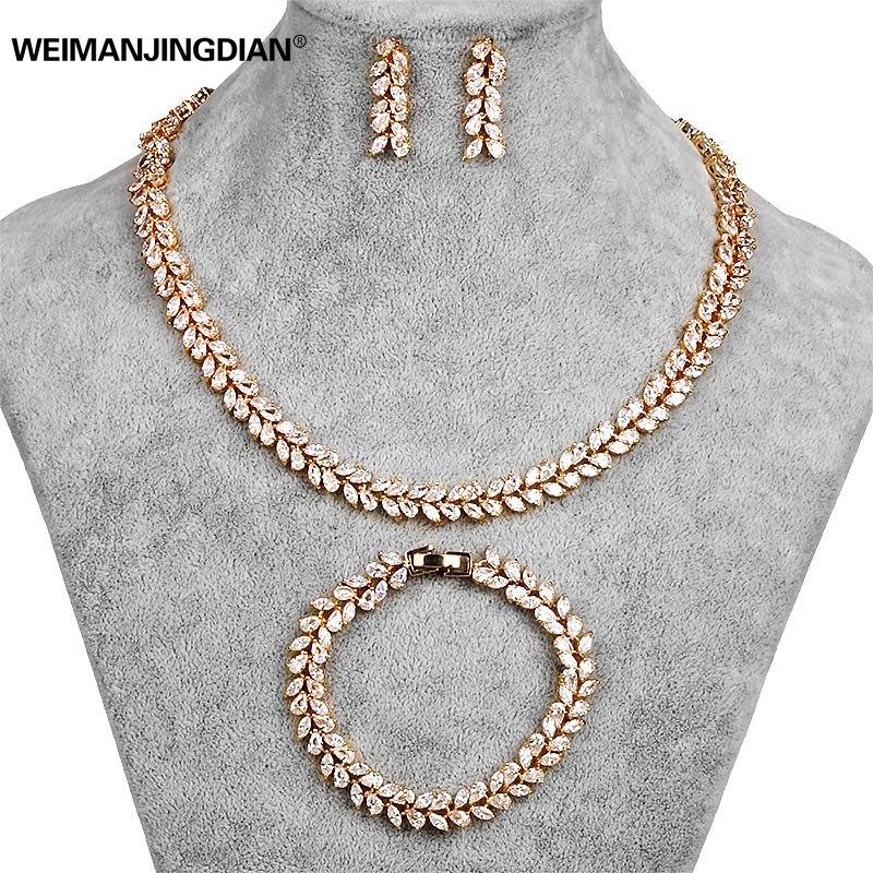 Image 2 - Set of 3 Cubic Zirconia Leaf Design Tennis Necklace Earrings and  Bracelet Bridal Wedding Jewelry Set in White Gold Color Platedbridal  wedding jewelry setsearings and braceletsnecklace earring