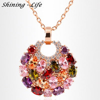 New Fashion Summer Jewelry Necklace 18K Rose Gold Plated Necklaces Pendants Micro Inlay Multicolor Cubic Zircon