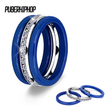 hot deal buy 3pcs/set 2017 hot blue ceramic rings stainless steel ceramic three lines wedding rings with crystal accessories zircon jewelry