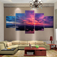 No Frame 5 Panel Modern Canvas Oil Painting Art Burning Clouds Cuadros Decoracion Wall Pictures For