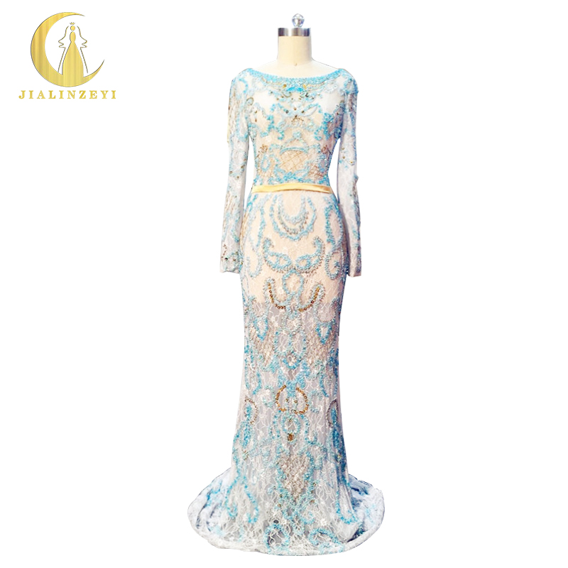 Rhine Real Sample Image Elie Saab Long Sleeves Full Beads Sexy Mermaid  Luxurious Evening Dresses Prom e82dbd7887e0