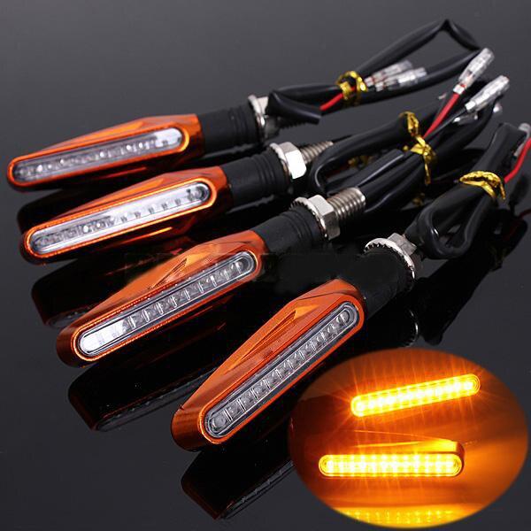 오토바이 차례 신호 빛 유연한 12 LED 표시기 깜박이 Flashers 범용 케이블 차례 신호 자전거 조명 drl
