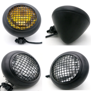 Universal 55W Round LED Headlight for Motorcycle DC 12V Retro Black Scooter Grill Headlamp Motor Lamp with Net Motorbike Lights