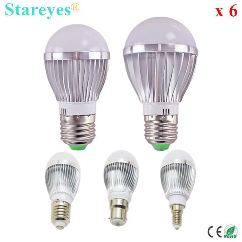 Free shipping 6 pcs Dimmable Bubble Ball Bulb AC85-265V 5W 4W 3W E14 E27 B22 GU10 High power Globe light LED Bulb LED Lamp