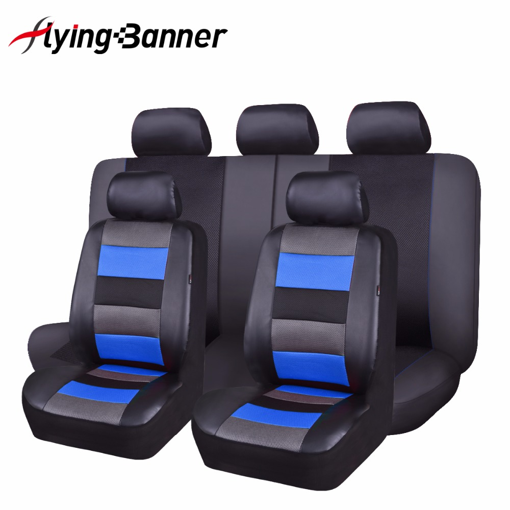 2017 New FlyingBanner Patching Sandwich Cloth Leather Car Seat Cover Universal Fit Most Cars Blue Protector