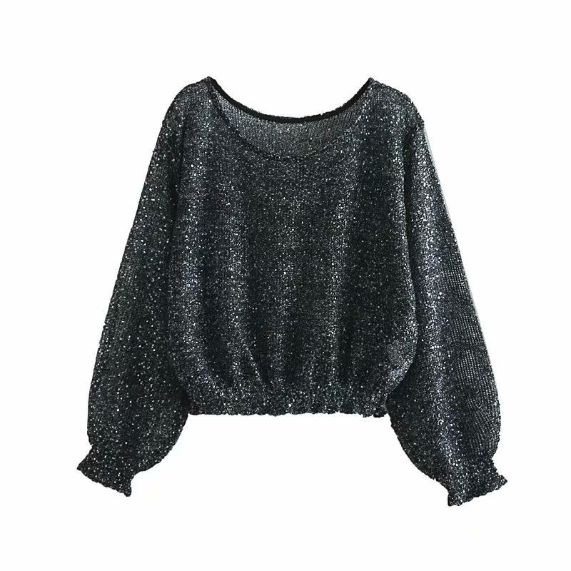 Long Pullover Sweater Spring Solid Long Sleeve Sequin Pullover Women Knitted Sweater Casual Loose Thin Jumpers Sweaters Ladies Price $37.89