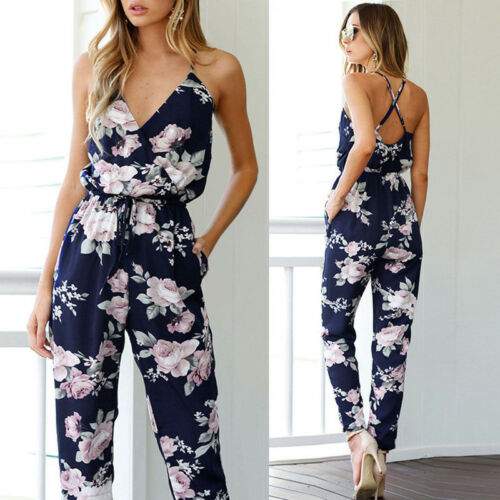 Women Ladies Playsuit Party   Jumpsuit   V Neck Floral Bandge Romper High Waist Long Trousers Pants Clubwear Summer