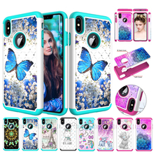 Hard PC + Soft Silicone Case For iPhone Xr 2 in 1 Diamond Bling Glitter Xs Max Luxury Fashion X
