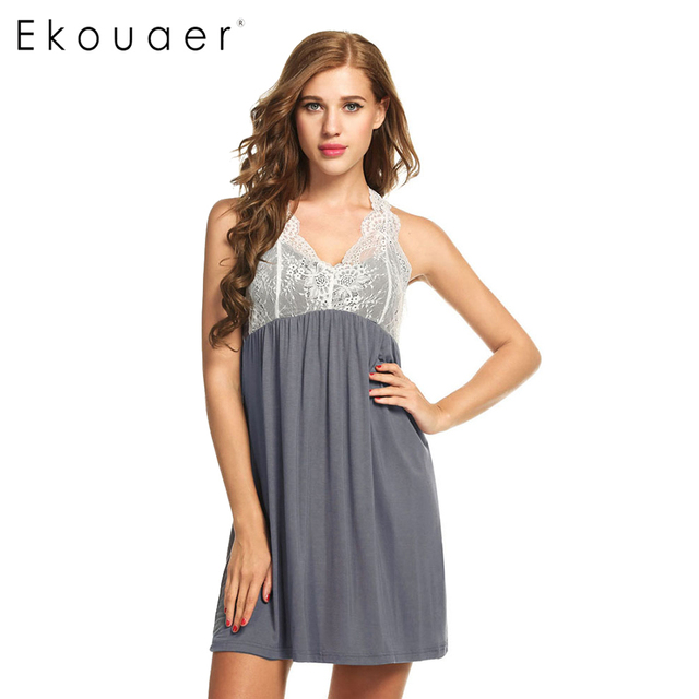 Ekouaer Women Nightwear Sleeveless Nightdress Patchwork V Neck Nightgowns Sleepshirts Female Sleepwear Hollow Out Lace Dress