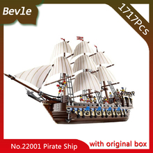 Bevle Store LEPIN 22001 4695Pcs with original box Movie Series Pirate Ship Building Blocks Bricks For Children Toys 10210 Gift