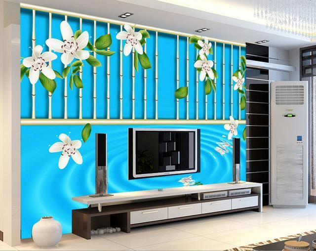 3d Papier Peint Pour Chambre Peach Blossom Bambou Tv Toile De Fond
