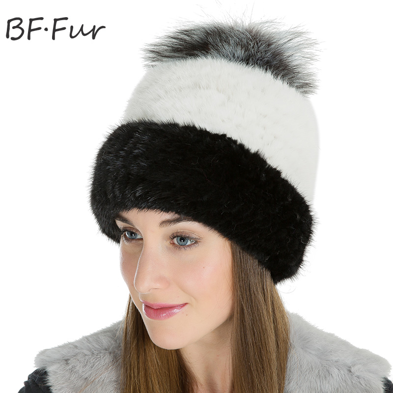 Real Mink Winter Warm Hat Female Animal Fur Pom Poms Beanies Thick Knitted Cotton Warm Cap Casual Natural Color Adult Bonnet russian real mink fur hat for female animal fur winter warm beanies fashion solid color cap natural color bonnet girls hats