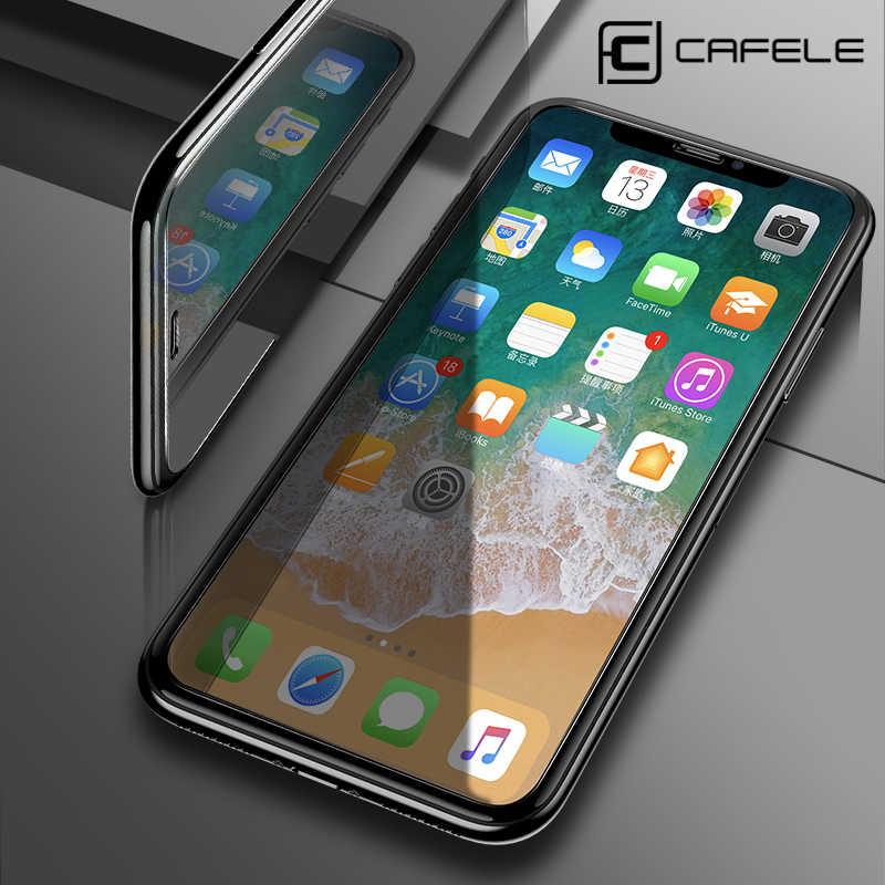 Caja protectora CAFELE Protector de pantalla para iPhone XR X XS X Max 8 7 6 6S Plus 5 5S SE vidrio templado 2.5D borde curvo 9H HD no cubre completamente de vidrio