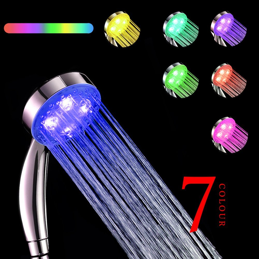 Wholesale LED Shower Head Without Retail Box,water Flow Power 7 Colors Flashing Jump Change Bathroom Faucet Light Saving Water