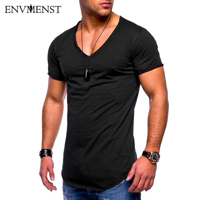 5122d58a77e Deep V Neck T-Shirt Men Fashion Compression Short Sleeve T Shirt Male  Muscle Fitness Tight Summer Top Tees